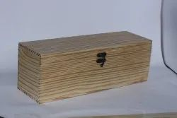 Brown Pine Wooden Handcrafted Bottle Gift Box