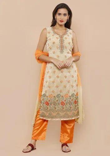 cded296381 Koskii Beige And Orange Salwar Suit at Rs 3500 /piece | Salwar Suit ...