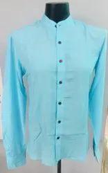 Plain Blue Bamboo Men Shirt
