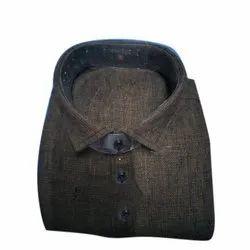 Smart-X Cotton Men's Black Casual Shirt, Size: 38
