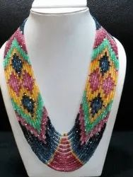 13-Strand Stunning Multi Color Ruby Emerald Sapphire Gemstone Necklace