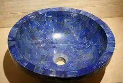 Marble Wash Basin Sink Inlay Blue Lapis Malachite