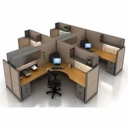 Brown Wooden and PVC Wooden Modular Office Workstation