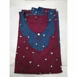 Cotton Printed Ladies Full Length Nightgown, Size: Medium