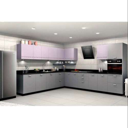 Sleek World L Shape MDF L Shaped Modular Kitchen