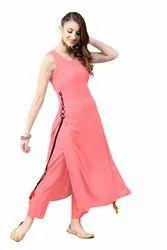 Casual Wear Plain Ladies Pink Rayon Long Kurta, Sleeveless, Size: S - Xxl