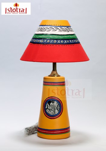 Teracotta Table Lamp With Madhubani Handpainting On The Shade