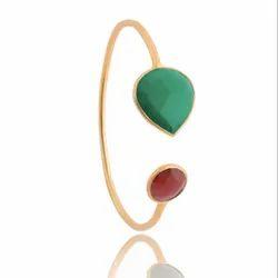 Green Onyx & Fuchsia Chalcedony Bracelet Faceted 14k Gold Filled Gemstone Bracelet