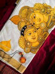 Mural Painting Kerala Saree - Hand Painting - Krishna Leela