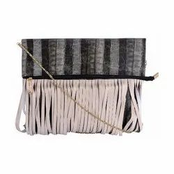 Azzra Off White Fringed Design Golden Chain Sling Bag