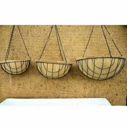Brown Round Coir Metal Hanging Basket, for Home