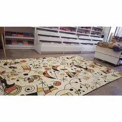 Silk Embroidered Miro Designer Floor Carpet, Shape: Rectangular, Size: 4'x6'
