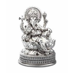 Aluminum Silver Ganesh Statue, Size: 8-9 Inch (Height)