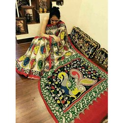 Kalamkari Silk Printed Ladies Kalamkari Saree, 5.5 M (separate Blouse Piece)