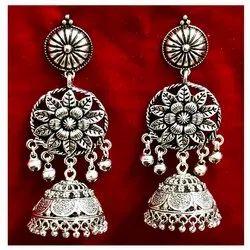 Oxidized Flower Earrings