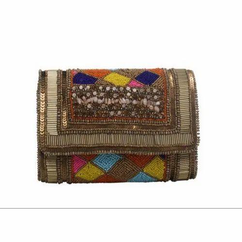 2408cf7d5 Multi Coloured Bead Work Clutch Bag