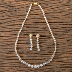 White Two Tone CZ Classic Necklace 407061, Size: Regular