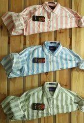 F 20 Cotton Full Sleeve Stripes Shirts, Size: M L Xl