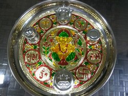 Red Stainless Steel Pooja Thali, For Home