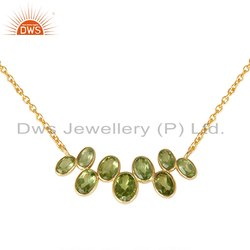 Peridot Gemstone Gold Plated Silver Designer Necklace
