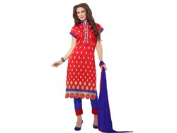 Red and Blue Coloured Unstitched Dress Material