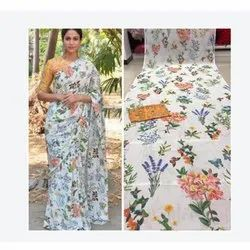 Casual Wear Ladies White Printed Saree, With Blouse Piece, 5.5 m (separate blouse piece)