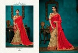 Heavy Embroidered Half and Half Designer Silk Sarees from Catalog Orange 9