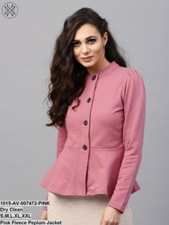 Pink Fleece Peplum Jacket