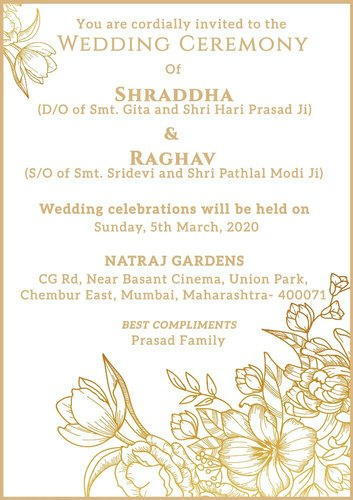 Ecard E Card Floral Wedding Invitation Card Rs 599 Number Id