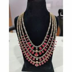 Modern Layer Diamond Necklace, Packaging Type: Box
