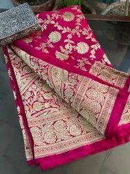 Wedding Wear Pink Pure Banarasi Satin Soft Silk Saree With Blouse Piece