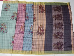 Ladies Flower Print Chanderi Silk Saree