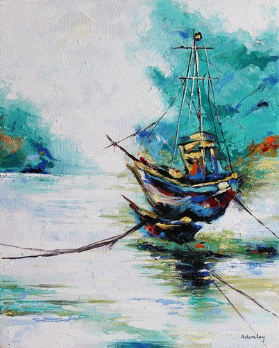 Boat Across a Windy River, Abstract Acrylic Painting
