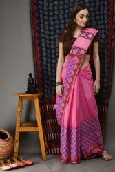 Pink Hand Block Printed Soft Malmal Cotton Saree
