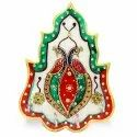 Marble Stone Studded Dual Peacock Four Key Hanger