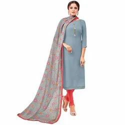 Rajnandini Grey Chanderi Silk Plain Semi-Stitched Dress Material With Printed Dupatta