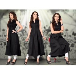 Cotton Sleeveless Ladies Black Kurti