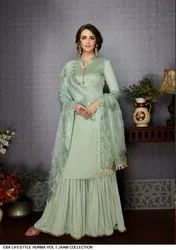 Embroidered Partywear Silk Suits