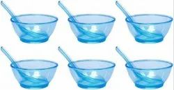 MEHUL Fiber Clear Round Soup Bowl with Spoon Set (Blue) 12 Pieces