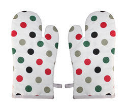 Multicolor Cotton Dot Print Kitchen Glove, Size: 18 X 32 Cm