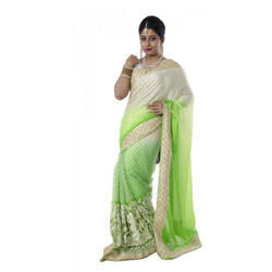 White And Green Party Wear Saree, 5.5 m (separate blouse piece)