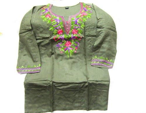 Rayon Embroidery Short Kurti