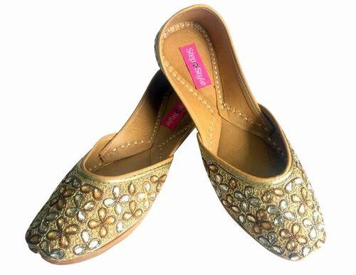 d1fba28986fd ... Footwear   Juttis. Step n Style Women Ladies Copper Kundan Work Punjabi  Jutti Ethnic Mojari