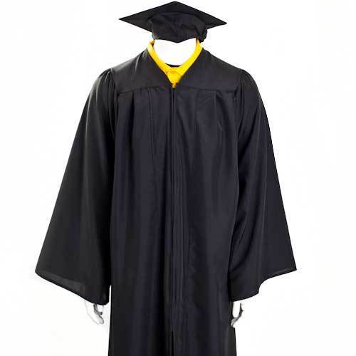 Black And Yellow Polyester Graduation Gown, Size: Small, Medium ...