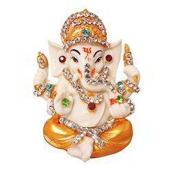 Marble Look Shri Laxmi Ganesha Statue Studded with Stones