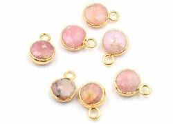 Pink Opal Round Shape Gold Plated Pendant