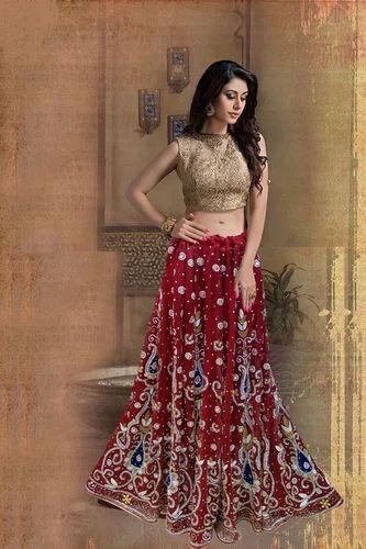5effdb0943 Free Size Net Bridal Lehenga, Maroon, Rs 6500 /set, Masbari Fashion ...