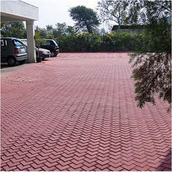 L shape Outdoor Red Concrete Paver Blocks, For Flooring, Thickness: 60mm