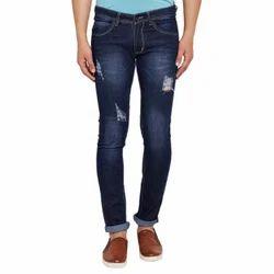 Blue Slim Fit Retro Damage Jeans, Yes