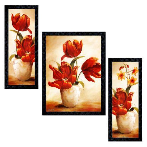 Set Of 3 Modern Art Flowers Framed Wall Painting Ptu585
